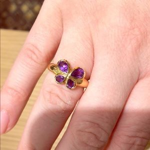 Jewelry - 14kt yellow gold amethyst butterfly ring